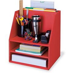 "Pacon Corrugated Desk Organizer - 16.5"" Height x 13.5"" Width x 10.8"" Depth - Floor - Recycled - Red - Cardboard - 1Each"