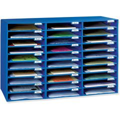 """Pacon Classroom Literature Sorters/Organizers - 30 Pocket(s) - 1.8"""" Height x 12.5"""" Width x 10"""" Depth - Recycled - Blue - 1Each"""
