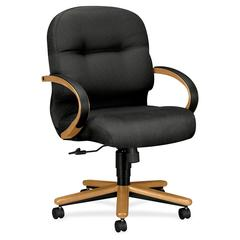 """HON Pillow-Soft 2192 Mid Back Management Chair - Fabric Charcoal Seat - 22"""" Seat Width x 21"""" Seat Depth26.3"""" Width x 28.8"""" Depth x 41.8"""" Height"""