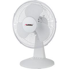 "Lorell 12"" Oscillating Desk Fan - 12"" Diameter - 3 Speed - Quiet, Oscillating - 19.5"" Height x 13.9"" Width x 11.5"" Depth - Metal Grille - Light Gray"