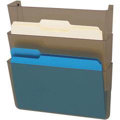 deflecto 3-Pocket DocuPocket Letter Wall File - Wall Mountable - Smoke - Plastic - 3 / Pack