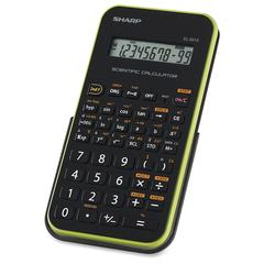 "Sharp Calculators Sharp EL501X Scientific Calculator - Protective Hard Shell Cover, Automatic Power Down, Large Display - Battery Powered - 3.3"" x 6"" x 0.5"" x 9"" - Black, Green - 1 Each"