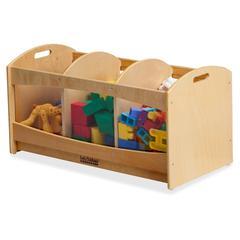 """ECR4KIDS Birch See-Thru Storage Bin - 3 Compartment(s) - 16"""" Height x 32"""" Width x 16"""" Depth - Floor - Natural - Birch - 1Each"""