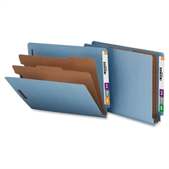 "Nature Saver Recycled End Tab Classificatn Folders - Letter - 8 1/2"" x 11"" Sheet Size - End Tab Location - 2 Divider(s) - 25 pt. Folder Thickness - Blue - Recycled - 10 / Box"