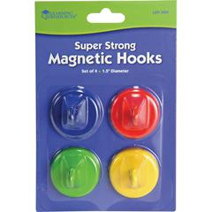 Learning Resources Super Strong Magnetic Hooks Set - for Pocket Chart, Flip Book, Hall Pass, Decoration - Metal - Red, Blue, Green, Yellow - 4 / Pack