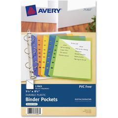 "Avery Binder Pockets - 20 x Sheet Capacity - 5 1/2"" x 8 1/2"" Sheet - Ring Binder - Rectangular - Assorted, Green, Orange, Yellow, Purple - Polypropylene - 5 / Pack"