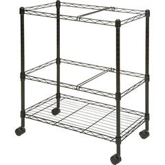 """Lorell Mobile Wire File Cart - 4 Casters - Steel - 26"""" Width x 12.5"""" Depth x 30"""" Height - Black"""