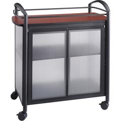 """Safco Impromptu Refreshment Cart - 440.92 lb Capacity - 4 Casters - 2.50"""" Caster Size - Steel - 34"""" Width x 21.3"""" Depth x 36.5"""" Height - Steel Frame - Black"""