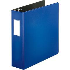 "Business Source Slanted D-ring Binders - 3"" Binder Capacity - 3 x D-Ring Fastener(s) - 2 Internal Pocket(s) - Chipboard, Polypropylene - Blue - 1 Each"