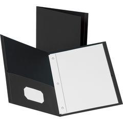 "Business Source Storage Pockets Fastener Folders - Letter - 8 1/2"" x 11"" Sheet Size - 100 Sheet Capacity - 3 x Prong Fastener(s) - 2 Inside Front & Back Pocket(s) - Leatherette - Black - Recycled - 25"