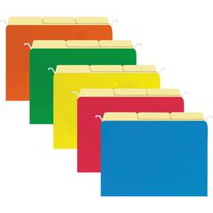 """Sparco Tabview Hanging File Folders - Letter - 8 1/2"""" x 11"""" Sheet Size - Manila - Assorted - Recycled - 20 / Pack"""