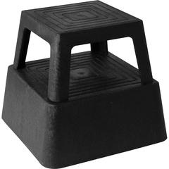 "Genuine Joe Plastic Step Stool - 350 lb Load Capacity - 14.3"" x 14.3"" x 13"" - Black"