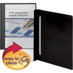 """Smead Clear Front Poly Report Covers - 1/2"""" Folder Capacity - Letter - 8 1/2"""" x 11"""" Sheet Size - 100 Sheet Capacity - 1 Fastener(s) - Polypropylene - Black, Clear - 10 / Pack"""