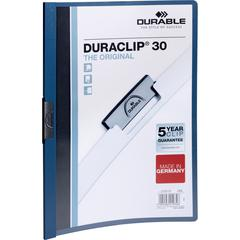 """DURABLE® DURACLIP® Report Cover - Letter Size 8 1/2"""" x 11"""" - 30 Sheet Capacity - Punchless - Vinyl - Dark Blue"""