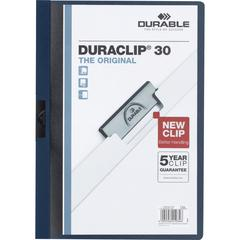 """DURABLE® DURACLIP® Report Cover - Letter Size 8 1/2"""" x 11"""" - 30 Sheet Capacity - Punchless - Vinyl - Navy"""