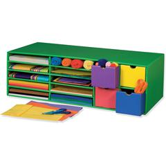 "Classroom Keepers Crafts Keeper - 10 Compartment(s) - 4 Drawer(s) - Compartment Size 1.50"" x 9.25"" x 12.25"" - Drawer Size 4.25"" x 4.50"" - 9.4"" Height x 30"" Width x 12.5"" Depth - Recycled - Green - 1Ea"