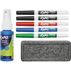 Expo Low-Odor Starter Marker Set - Fine Marker Point Type - Red, Blue, Green, Black - 4 / Set
