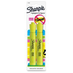 Sharpie SmearGuard Tank Style Highlighters - Wide, Narrow Point Type - Chisel Point Style - Fluorescent Yellow - Fluorescent Yellow Barrel - 2 / Pack