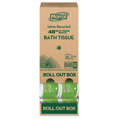 "Marcal Bath Tissue Roll Out Box - 2 Ply - 3.66"" x 4.30"" - White - Soft, Lint-free, Anti-septic, Easy to Use, Durable, Absorbent, Eco-friendly, Strong - For Bathroom, Skin, Professional, Residential -"