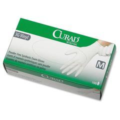 Curad Powder-Free Latex-Free 3G Vinyl Exam Gloves - Medium Size - Vinyl - Powder-free, Latex-free, Beaded Cuff, Non-sterile, Textured - 100 / Box