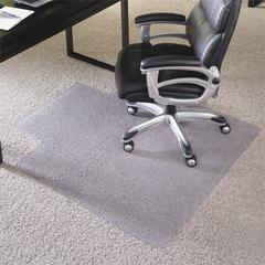 "ES Robbins Carpet Vinyl Chairmat w/ Lip - Carpeted Floor - 60"" Length x 46"" Width x 1"" Thickness - Lip Size 12"" Length x 25"" Width - Vinyl - Clear"