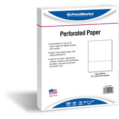 "PrintWorks Professional Pre-Perforated Paper for Invoices, Statements, Gift Certificates & More - Letter - 8 1/2"" x 11"" - 20 lb Basis Weight - Smooth - 500 / Ream - White"