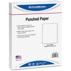 "PrintWorks Professional 11-Hole Velobind Pre-Punched Paper for Presentations & Reports - Letter - 8 1/2"" x 11"" - 20 lb Basis Weight - 500 / Ream - White"