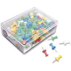 "Gem Office Products Push Pins - 0.4"" Length - 100 Pack - Assorted - Plastic, Steel"