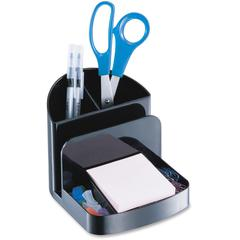 """OIC Recycled Deluxe Desk Organizer - 5 Compartment(s) - 5"""" Height x 5.4"""" Width x 6.8"""" Depth - Desktop - Recycled - Black - Plastic - 1Each"""