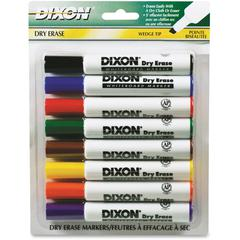 Dry Erase Marker - Wedge Point Style - Yellow, Red, Blue, Orange, Green, Violet, Brown, Black - White Barrel - 8 / Pack