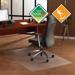 """Cleartex UnoMat Anti-Slip Rectangular Chairmat - Hard Floor, Home, Office - 35"""" Length x 47"""" Width x 74.8 mil Thickness - Rectangle - Polycarbonate - Clear"""