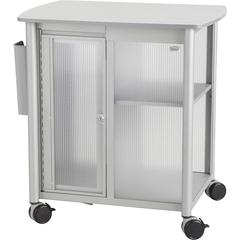 "Safco Impromptu Personal Mobile Storage Center - 1 Shelf - 200 lb Capacity - 4 Casters - 2.50"" Caster Size - Steel, Polycarbonate, Melamine - 25.3"" Width x 17.3"" Depth x 26.8"" Height - Metallic Gray F"