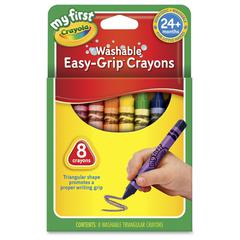 Crayola My First Easy-Grip Washable Crayons - Black, Blue, Brown, Green, Orange, Red, Violet, Yellow - 1 / Box