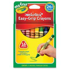 Crayola My First Easy-Grip Washable Crayons - Assorted - 16 / Box