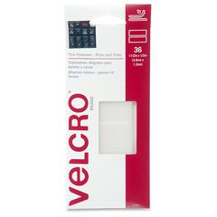 "VELCRO® Brand VELCRO Brand Press/Close Thin Fasteners - 0.50"" Width x 1.50"" Length x 1.25"" Diameter - Permanent Adhesive Backing - Lightweight, Precut, Removable, Light Duty - 36 / Each - White"