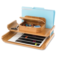 "Bamboo Deluxe Organizer - 5 Compartment(s) - 7.5"" Height x 15"" Width x 12.3"" Depth - Natural - Bamboo - 1"