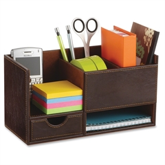 """Safco Leather Look Small Organizer - 6"""" Height x 11.5"""" Width x 5"""" Depth - Desktop - Chocolate - 1Each"""
