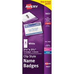 Avery Clip Style Name Badges - Plastic - 12 / Pack - Clear