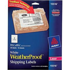 """Avery Weatherproof Mailing Labels - Permanent Adhesive - 5 1/2"""" Height x 8 1/2"""" Width - Rectangle - Laser - White - Polyester - 2 / Sheet - 20 Total Label(s) - 20 / Pack"""