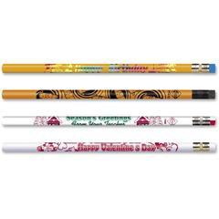 Moon Products Party Assortmt Motivational Pencils - #2 Lead - 8.7 mm Lead Diameter - Black Lead - Assorted Wood Barrel - 12 / Box