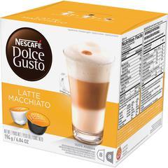 Nescafe Dolce Gusto Latte Macchiato Coffee Pods Pod - Compatible with Majesto Automatic Coffee Machine - Latte Macchiato, Espresso, Rich Aroma - 16 / Box