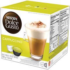 Nescafe Dolce Gusto Cappuccino Coffee Capsules Capsule - Compatible with Majesto Automatic Coffee Machine - Cappuccino, Arabica, Rich Aroma - Dark - 16 / Box