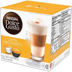 Nescafe Dolce Gusto Caramel Latte Coffee Capsules Pod - Compatible with Majesto Automatic Coffee Machine - Latte Macchiato, Espresso, Creamy, Caramel - 8 Capsule - 16 / Box