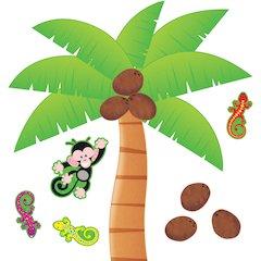 Trend Palm Tree Bulletin Board Set - Nature Theme/Subject - 12, 8, 4, 1 (Coconut, Palm, Gecko, Monkey) Shape - Multicolor - 1 Set