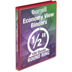 "Samsill Economy Round Ring View Binders - 1/2"" Binder Capacity - Letter - 8 1/2"" x 11"" Sheet Size - 125 Sheet Capacity - Round Ring Fastener - 2 Inside Front & Back Pocket(s) - Vinyl - Recycled - 1 Ea"