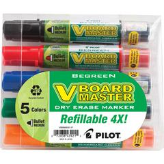 Pilot BeGreen VBoard Master Med. Bullet Marker - Medium Marker Point Type - Bullet Marker Point Style - Refillable - 5 / Pack