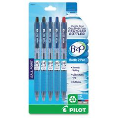 Pilot Bottle to Pen (B2P) B2P Recycled Retractable Ballpoint Pens - Fine Point Type - Refillable - Assorted - 5 / Pack