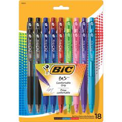 BIC BU3 Grip Ball Pens - Medium Point Type - 1 mm Point Size - Red, Green, Purple, Pink, Blue, Turquoise, Black - Turquoise, Red, Green, Purple, Pink, Black, Blue Barrel - 8 / Pack