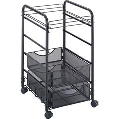 """Safco Onyx Mesh Open File with Drawers - 2 Drawer - 75 lb Capacity - 4 Casters - 1.50"""" Caster Size - Steel - 15.8"""" Width x 17"""" Depth x 27"""" Height - Black Steel Frame - Black"""