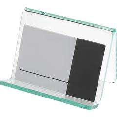 Lorell Acrylic Hint of Green Business Card Holder - Acrylic - 1 Each - Green, Transparent